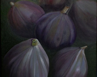 Figs Painting - Kitchen Oil Painting Kitchen Wall Art Original Purple Painting Botanical Home Decor