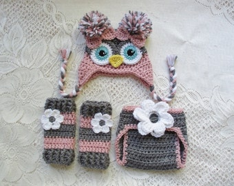 Dark Grey and Light Raspberry Owl Hat, Diaper Cover and Leg Warmers - Photo Prop Set - Available in 0 to 24 Month Sizes