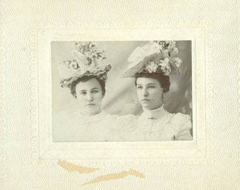 2 Antique Photos - Ladies and Their Hats - Both Photos Unidentified