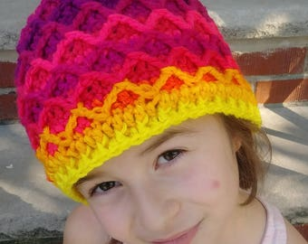 Diamond Mesh Red/Yellow Gradient Ombre Beanie Hat Crochet Knit