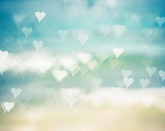 abstract nursery art heart print abstract beach art nautical decor beach photography decor ocean print bokeh photography aqua teal beige