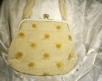Vintage Beaded Handbag By Lumered / Corde Beaded Bag / Evening Purse / Retro 1950's