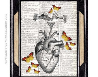 Anatomical Heart art print RECIPE for HAPPINESS original illustration on upcycled dictionary book page yellow butterflies science 8x10, 5x7