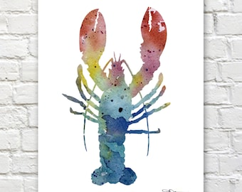 Lobster Art Print - Abstract Watercolor Painting - Kitchen Art - Wall Decor