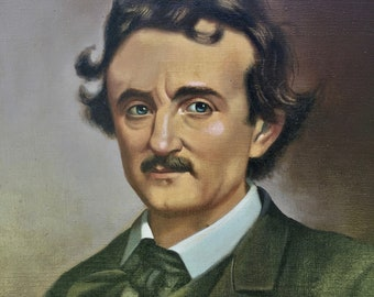 Striking Portrait of Edgar Allan Poe, Oil on Canvas