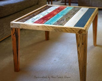 Rustic Coffee Table Reclaimed Retro Pallet Wood Handpainted coffee table Occasional table