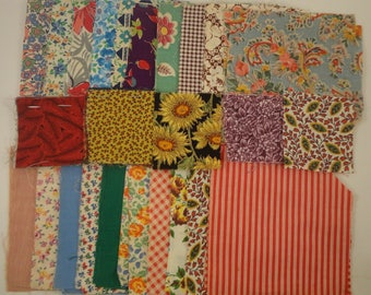 Cut Material for Quilt; vintage fabrics; 150+ notched squares