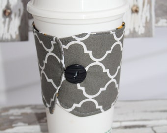 Reusable Coffee Cup Sleeve, Coffee Cup Cozy, Coffee Cozy, Coffee Cup Sleeve, Gray Quatrefoil, Ready to Ship