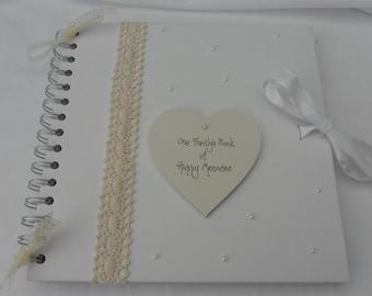 Family memories Vintage lace scrapbook/photo album - personalised
