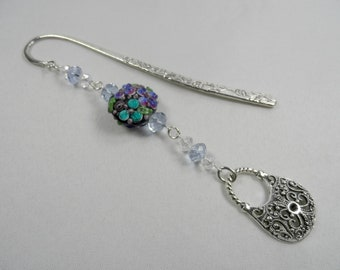 Purse Charm Shepherd's Hook Bookmark with Lampwork and Faceted Crystals - Silvertone
