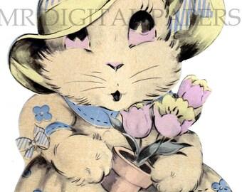 Antique Easter Card / Easter Bunny Card / Digital Instant Download / Paper Ephemera / Easter Craft / Vintage Rabbit / Peter Cottontail