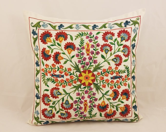 Hand Embroidered Suzani Pillow Cover SP41 (msp797), Suzani Pillow, Suzani Throw, Boho Pillow, Suzani, Decorative pillows, Accent pillows