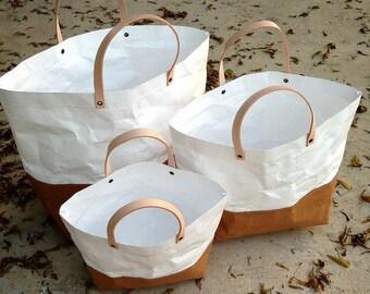 Tote Bag Set : Tyvek and Kraft paper tote bag/market bag/handbags/lunch bag/shopping bag/washable bag and eco friendly