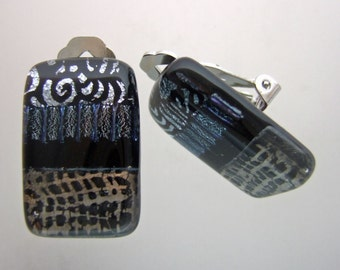 Silver Abstract Clip Earrings, Handmade Fused Glass Jewelry from North Carolina