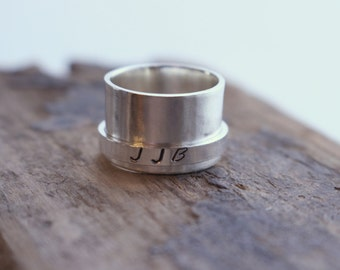 Sterling Silver Personalized Wide Band Spinner Ring SR109