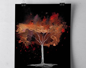 Orange abstract tree, instant digital download, abstract watercolour painting, autumn tree, black background, printable artwork, wall art