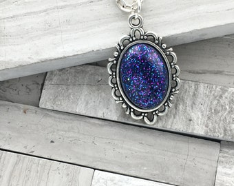 Shimmer Glimmer blue and purple small oval pendant