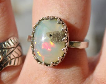 Silver Opal Ring, Rough Opal, Opal Ring, Silver Ring, Sterling Silver, boho, Simple Jewelry