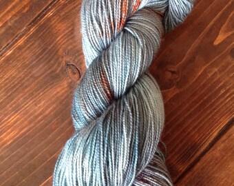 Hand dyed, Sock yarn, Indie dyer, Bluefaced Leicester, 4ply sock yarn, Ocean Deep