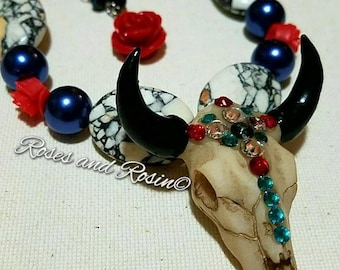 Swarovski Crystal Cow Skull Necklace