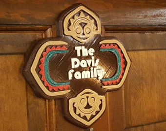Personalized Polynesian Themed Family Last Name Sign / Plaque ( Disney Tiki Polynesia Resort / Park Prop Inspired Replica )