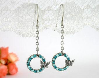 Silver butterfly earrings, Butterfly earrings, Silver dangle butterfly earrings, Butterfly jewelry, Blue butterfly earrings, Blue butterfly