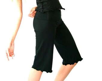 CROPPED PANTS  ruffled hem, made to order, custom, yoga pants, handmade, black pants, women's pants, women's clothing, ruffled hem
