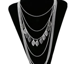 Silver multi strand necklace with leaf detail