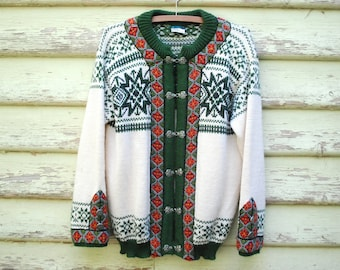 Norwegian Cardigan Knitted Pure Wool Sweater Dale of Norway Authentic 70s Vintage Embroidered Retro Vtg 1970s Size S-L