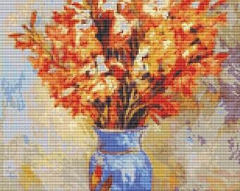 Flower Cross Stitch Chart, Gladiolis Cross Stitch Pattern PDF, Art Cross Stitch, Floral Cross Stitch, Pierre-Auguste Renoir