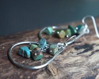 Turquoise Rain - Large Fine Silver earrings - Hand forged Silver dangles with cascading Turquoise gemstones
