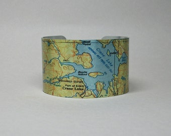 Crane Lake Boundary Waters Canoe Area Minnesota Map Cuff Bracelet Unique Gift for Men or Women