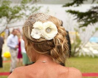 Ivory Birdcage Veil Wedding Veil Bridal Veil Flower Fascinator 2 Pieces Bridal Headpiece Wedding Fascinator Bridal Wedding Hair Comb