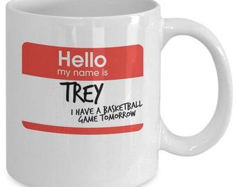 Hi my name is trey vine meme mug cup (white) 11oz funny hi my name is trey i have a basketball game tomorrow viral clip gift merchandise