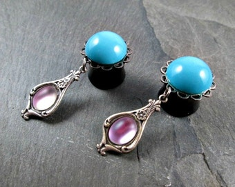 """Victorian Dangle Plugs - 9/16"""" 14mm - Turquoise and Pink - Glass Gems - Plug Earrings - Dangle Gauges"""
