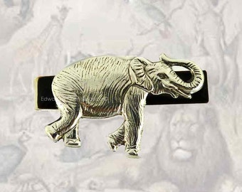 Tie Clip Neo Victorian Elephant Safari Vintage Style Inlaid in Hand Painted Black Onyx Enamel Neck Tie Bar Accent Custom Colors Available