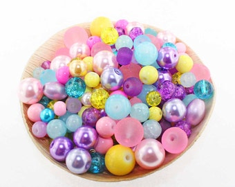 Unicorn Glass Bead Mix Assorted 100 Beads 6mm to 12mm - BMX042