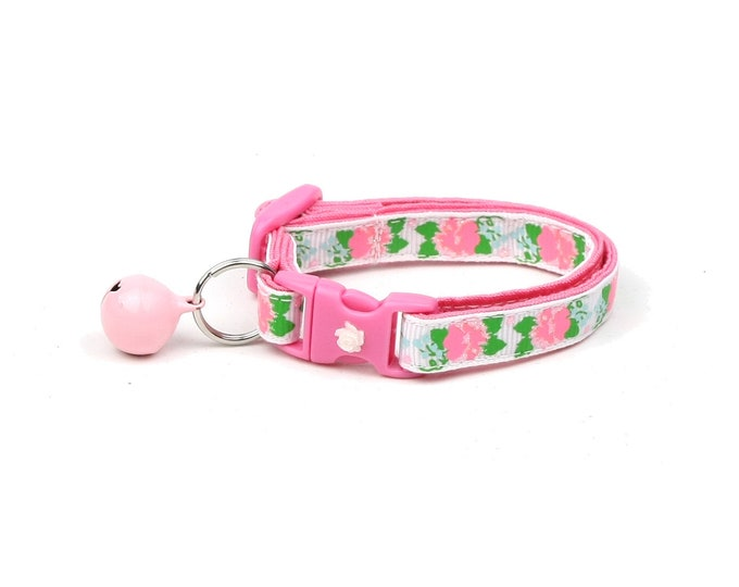 Flower Cat Collar - Pink Carnations on White - Small Cat / Kitten Size or Large Size