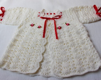 Knitted Baby Cardigan Sweater Glitter Lurex White Red Ribbons Flowers