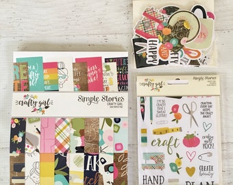Simple Stories Crafty Girl Collection, buy all or just 1, for Scrapbooking, Cardmaking, planner, papercrafting, pocket pages, pocket letters
