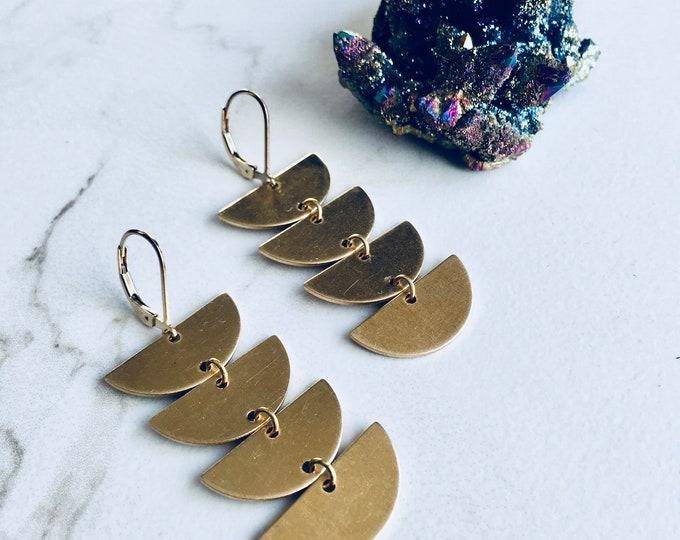 Golden Tiered Half Moon Earrings