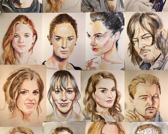 Prints of my Watercolor Portraits for my 365 Portraits in 365 Days Project