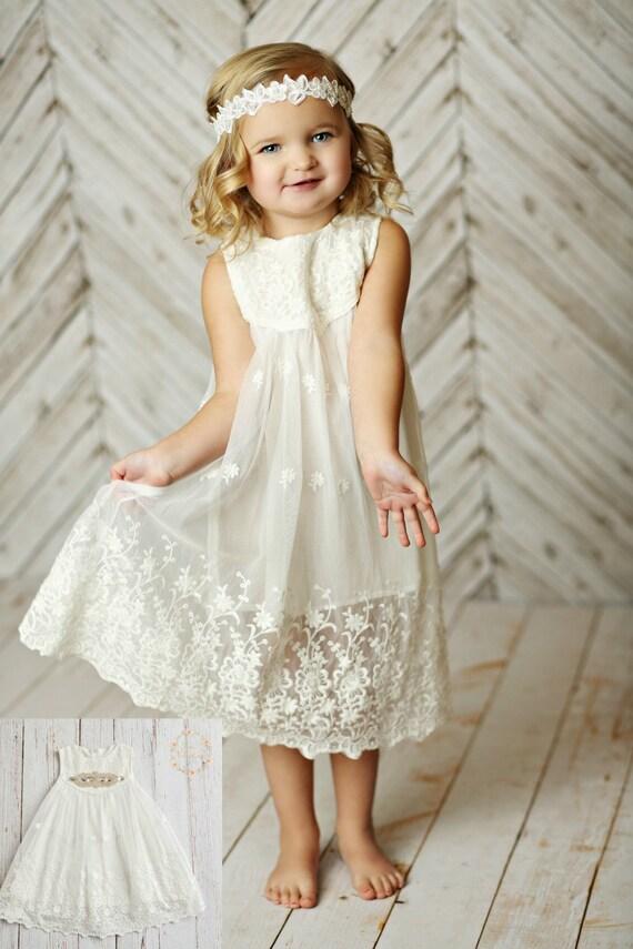 White flower girl dress girls lace dress rustic flower girl like this item mightylinksfo
