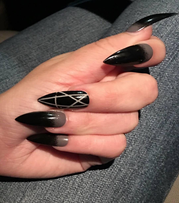 Gothic Gray & Black Pentagram Nails, Stiletto, Coffin, Oval, Square ...