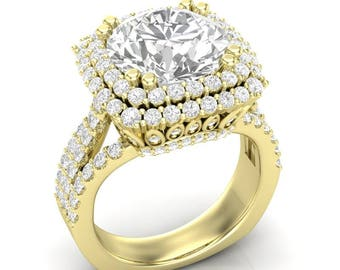 Yellow Gold Engagement Ring Double Halo Ring Three Row Shank 1.85 ct Diamonds 2.5 ct 9mm Forever One Moissanite Center New 14K Complete Ring