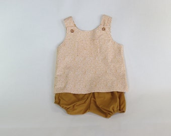 Orange pinafore and bloomers