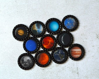 Planet Bottlecap Magnets- Solar System, Astronomy, Cosmic, Science Fridge Magnets- Kid Gift, Teacher Gift, Homeschool Classroom Magnets