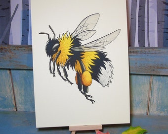 Bumblebee Illustration ~ A4 Print on 270gsm Card available in 3 Colours