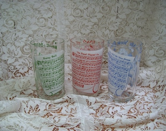 "Three Retro Glasses - 40's Tunes on Side - 5"" high - Match Cocktail Shaker"