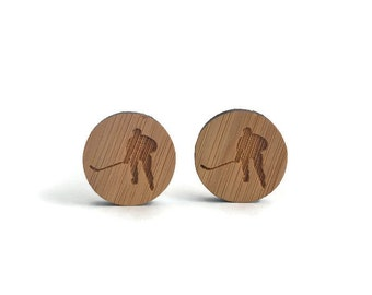 Hockey cufflinks, Ice hockey cufflinks, sports cufflinks, sports fan gift, hockey fan gift, ice hockey, wood cufflinks, hockey wood cufflink